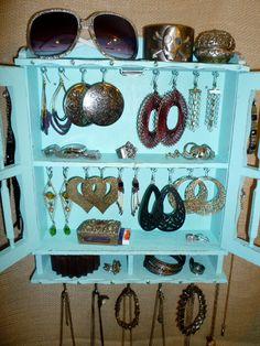 Upcycled Jewelry Organizing Aqua Display Cabinet
