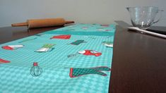 Retro Mid Century Style Atomic Vintage Kitchen Gadgets Table Runner, New, Hand Made by Tiki Queen