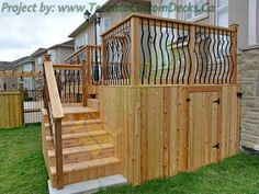 deck railing ideas | ... deck with wrought iron railings, under dek storage and deck stairs