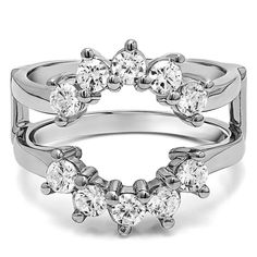 Princess Kylie Pave Set Clear Cubic Zirconia Heart Shaped Ring Rhodium Plated Sterling Silver