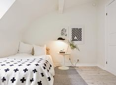 For our tiny house someday! White and black decor. Simplistic. Minimalist. Loft bedroom.
