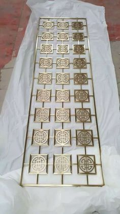 Laser cut champagne gold metal screen-Shanghai Yikai Metal Products Co. Door Gate Design, Main Door Design, Sheet Metal Art, Decorative Metal Screen, Jaali Design, Cnc Cutting Design, Metal Room Divider, Stainless Steel Screen, Window Grill Design