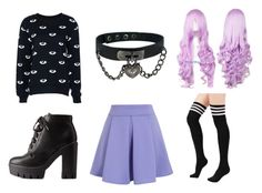 """""""purple pastel goth"""" by pastel-panda55 ❤ liked on Polyvore featuring Chicwish, Charlotte Russe, women's clothing, women's fashion, women, female, woman, misses, juniors and emo"""