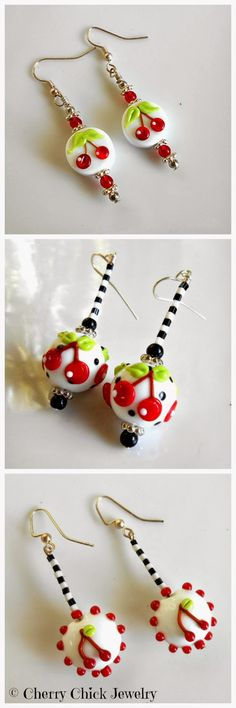 Cherry Earrings #CherryChick #LampworkGlass