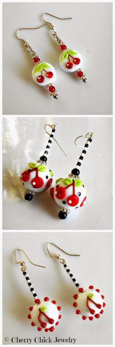 Cherry Earrings #CherryChick #LampworkGlass