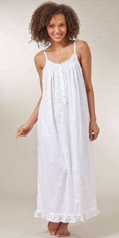 Swiss Dot Eileen West Sleeveless Woven Cotton Ballet White Night Gown