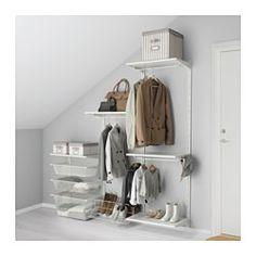 IKEA - ALGOT, Kiinnityskisko/hyllyt/tanko, ALGOT-sarjan osia voi yhdistää monin eri tavoin, ja niistä on helppo luoda omiin tarpeisiin sopiva kokonaisuus.Kannattimet on helppo kiinnittää ALGOT-kiinnityskiskoihin napsauttamalla. Työkaluja ei tarvita.Soveltuu myös kylpyhuoneissa ja muissa kosteissa sisätiloissa käytettäväksi.