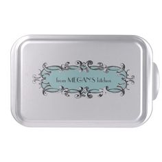 Victorian Frame Aqua Personalized Cake Pan-what an amazing gift or housewarming present. For a friend's new home, I would bake a loaf cake and present it in this. Love it.