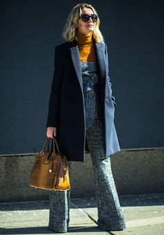 """[loose @ ankles?] Best-dressed at New York Fashion Week - Telegraph """"Natalie Joos: Queen of matchy-matchy, bright ensembles, Natalie Joos, started her NYFW stint off on a subtle note with blue-and-white co-ords. Note the flash of burnt orange; it is still Joos, of course."""""""