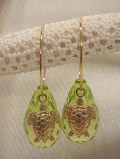Drop Hoop Earrings  Green with Sea Turtles  Gold by savannahjacks, $25.00