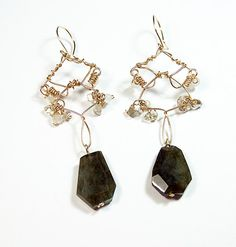 Glamour Labradorite and Smokey Quartz with Gold wire earrings by #LoudLadyJewelry