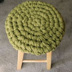 Crochet Stool Cover of fabric, can make from t-shirts. Includes link to how-to of cutting the fabric yarn. Wouldn't a set of barstools look great, each dressed in a different bright color?