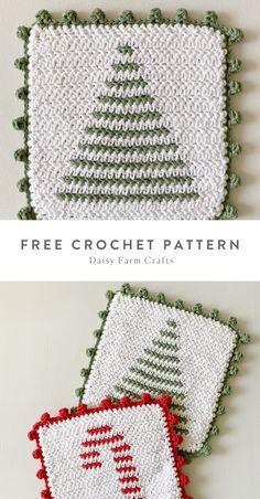 Crochet Christmas Gifts, Crochet Christmas Decorations, Holiday Crochet, Crochet Gifts, Free Christmas Crochet Patterns, Christmas Yarn, Crotchet Patterns, Crochet Square Patterns, Crochet Squares