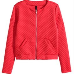 H&M quilted jacket blazer It's a mix between red and orange and some stretch for comfort! Great pop of color for an outfit H&M Jackets & Coats Blazers