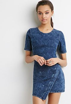 "Faux Wrap Denim Dress | Forever 21 - 2000096532 Its mineral wash finish gives it an edgier flair, while a round neckline and short sleeves keep it totally casual (although we would dress this up for a GNO with some strappy heels).  Exposed back zipper Woven, unlined 70% cotton, 28% polyester, 2% spandex 31"" full length, 30"" chest, 26"" waist, 9.5"" sleeve length Measured from Small Hand wash cold"