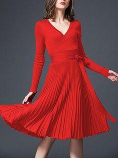 #Fashionmia - #Fashionmia Deep V-Neck Plain Bowknot Knitted Skater Dress - AdoreWe.com