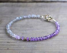 Ombre Amethyst & Labradorite Bracelet with Gold by EleriaJewelry