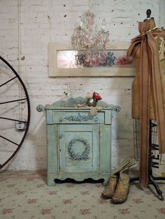 Painted Cottage Chic Shabby Aqua Server~ ♥ Shabby Chic Inspirations #shabbychic