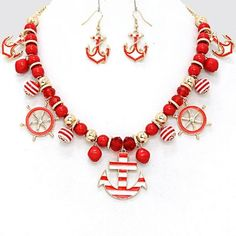 Red White Sealife Fashion Statement Multi Color Anchor Charm Necklace. Free shipping and guaranteed authenticity on Red White Sealife Fashion Statement Multi Color Anchor Charm NecklaceFashion Statement Nautical By The Sea Anchor Charm...