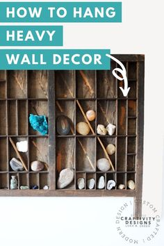 Learn how to hang a shadow box or heavy picture frame securely every time. We'll show you how to use a combination of 2 inexpensive picture hanging kits to hang almost any heavy wall decor! How to Hang a Heavy Frame   How to Hang a Heavy Mirror   How to Hang Heavy Wall Decor Modern Nursery Decor, Vintage Nursery, Letterpress Drawer, Cool Diy Projects, Project Ideas, Craft Projects, Craft Ideas, Fun Crafts For Kids, Diy Storage