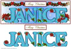 Large DL Poinsettia - JANICE by Sheila Rodgers This design will fit a large DL card. It has a blue gradient background with a design of snowflakesstars. There is a swag of greenery bows baubles beads and poinsettia.  The alphabet has a design of wavy stripes and is decorated with holly and poinsettia. There are larger poinsettia behind the text.  There is also a Christmas sentiment. There is a mat