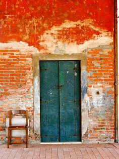 orange and teal, color combos, burnt orange, brick, painted doors