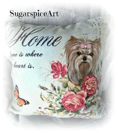 Yorkie Hand Painted Shabby Chic Decor Pillow Cushion Dog Art by SugarspiceArt