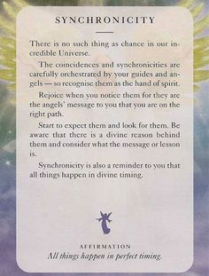 "JacquelineJGarner.com ""Official Fanpage"" Today's Angel Card Is Synchronicity Www.facebook.com/jacquelinejgarner 