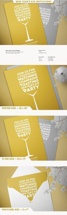New Year's Eve Invitations by Designs by Justin Lynch on @creativemarket