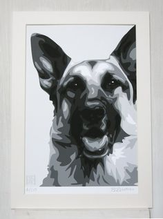 German Shepherd ART PRINT by emilyburrowes on Etsy, £29.00