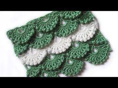Узор Веерочки с пышными столбиками - Pattern Fans with Puff Stitch - YouTube