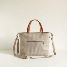 Light Beige handbag / Shoulder bag / Messenger leather handles Zipper Closure