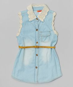 Another great find on #zulily! Blue Denim Lace Collar Button-Up Tunic - Toddler & Girls by Funkyberry #zulilyfinds
