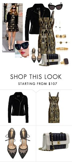 """""""HOUSE OF HARLOW Chelsea Sunglasses in Black as worn by Chiara Ferragni"""" by creative-contrast ❤ liked on Polyvore featuring moda, Vero Moda, Hervé Léger, House of Harlow 1960, Bionda Castana, Chanel, I. Ronni Kappos e Melinda Maria"""