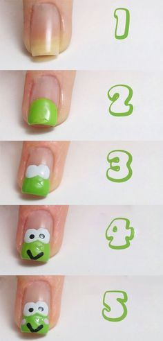 Cute Frog Nails Art Step By Step ~ Calgary, Edmonton, Toronto, Red Deer, Lethbridge, Canada Directory