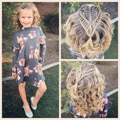 All ready for church! We did a recreation of a style that i did last year! It's a double French ladder braid shaped into a. Kids Braided Hairstyles, Cute Girls Hairstyles, Crown Hairstyles, Church Hairstyles, Updo Hairstyle, Coiffure Hair, Heart Hair, Natural Hair Styles, Long Hair Styles