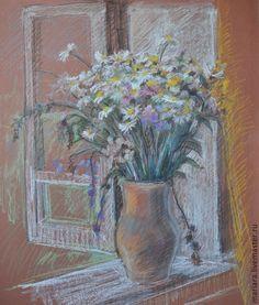 Купить Картина пастелью Букет полевых цветов на подоконнике - белый, полевые цветы, натюрморт с цветами