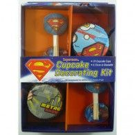 Superman Party Cupcake Decorating Kit from Cupcake Decorations Online shop, Pink Frosting. Superman Birthday Party, Superhero Party, Birthday Bash, Cupcake Party, Party Cakes, Superman Party Supplies, Superman Cupcakes, Cake Decorating Kits, Wholesale Party Supplies