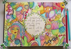 colored pencil doodle spread