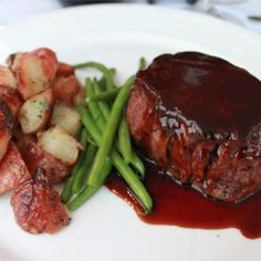 Try Filet Mignon with Rich Balsamic Glaze! You'll just need 2 ounce) filet mignon steaks, teaspoon freshly ground black pepper to taste, salt to. Balsamic Glaze Recipes, Beef Recipes, Cooking Recipes, Beef Fillet Recipes, Beef Tenderloin Recipes, Cooking Beef, Tenderloin Steak, Meat Recipes, Beef