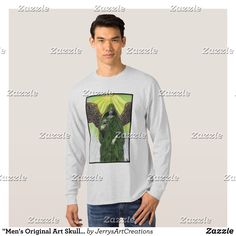 """Men's Original Art Skull Angel Long Sleeve T-Shirt - Heavyweight Pre-Shrunk Shirts By Talented Fashion & Graphic Designers - #sweatshirts #shirts #mensfashion #apparel #shopping #bargain #sale #outfit #stylish #cool #graphicdesign #trendy #fashion #design #fashiondesign #designer #fashiondesigner #style"