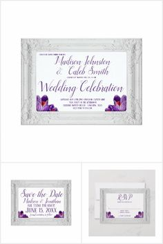 Elegant Frame Purple Flowers Script Wedding Invitation Set #purplewedding #purpleweddinginvitations Purple Wedding Invitations, Wedding Invitations Online, Wedding Invitation Templates, Purple Flowers, Design Your Own, Invite, Script, Elegant, Frame