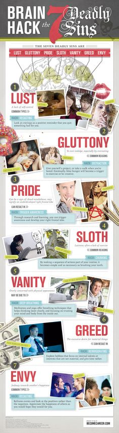 Brain Hacks - 7 deadly sins - lust, gluttony, pride, sloth, vanity, greed, envy