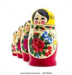 matrioshka doll isolated on white - stock photo
