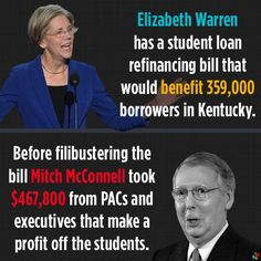 Elizabeth Warren tries to block republican greed from hitting American students. But with creeps like Mitch McConnell in the Senate, all of us lose. Can't the people in Kentucky see how he votes against their interests? Les Hypocrites, Troll, Mitch Mcconnell, Elizabeth Warren, Political Views, Right Wing, Republican Party, Student Loans, Greed