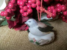 Nesting Bird Christmas Tree Ornament Vintage Homco Hand Painted Porcelain…