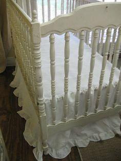 Ruffled Crib Skirt in Washed Handkerchief Linen by cottageandcabin, $175.00