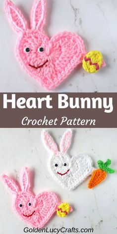 This cute crochet Easter Bunny applique is made in the shape of a heart! Free crochet pattern, crochet carrot applique, heart-shaped bunny Holiday Crochet Patterns, Crochet Applique Patterns Free, Crochet Flower Patterns, Crochet Patterns For Beginners, Knitting Tutorials, Dress Tutorials, Stitch Patterns, Knitting Patterns, Crochet Rabbit
