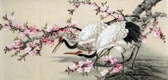 Double Crane Birds & Flowers Fine-brush Chinese Ink Brush Painting, 68CM*168CM Chinese wall scroll painting Fine art Artist original works of handwriting Rice paper Traditional painting. USD $ 262.00