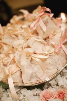 Pretty stamped favor bags.